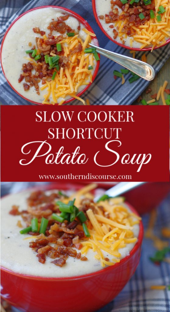 Super easy Slow Cooker Shortcut Potato Soup! It's packed with all the yummy flavors of a loaded baked potato soup  but frozen diced hash brown potatoes cuts out all the usual peeling and dicing of potatoes to make the prep oh, so quick!  #southerndiscourse #crockpot #slowcooker #potatosoup #comfortfood #easyrecipe