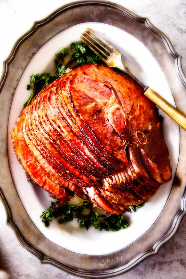 Apple Cider Maple Glaze Ham sliced with bone