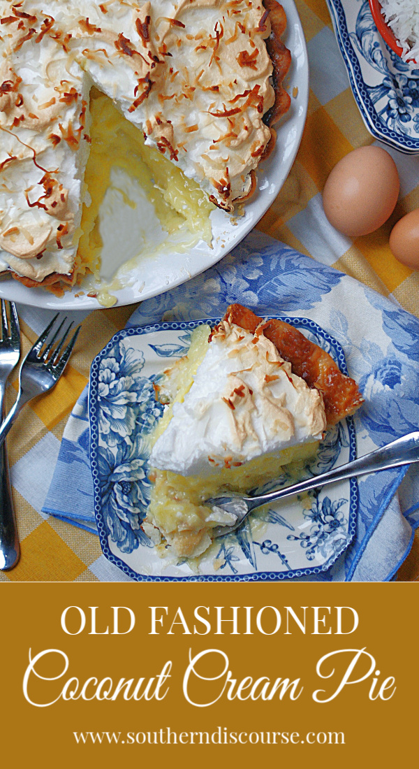 Old Fashioned Coconut Cream Pie is an easy, from-scratch recipe my great grandmother used to make. It is has a delicious tall meringue and toasted coconut to top it off. #southerndiscourse #eggs #meringue #oldfashioned #fromscratch #coconutpie