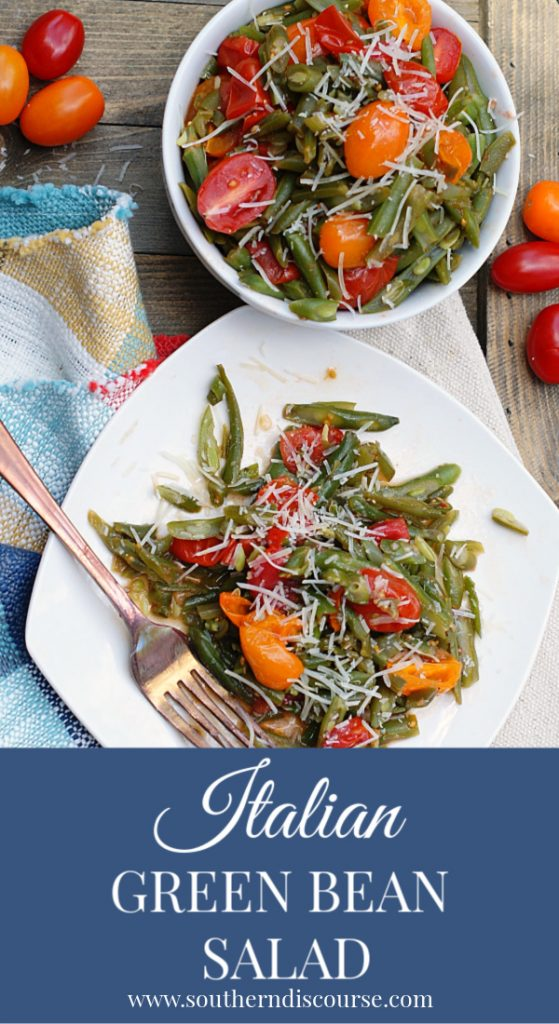 Italian Green Bean Salad is a bright, warm salad featuring sauteed green beans, cherry tomatoes, Italian Dressing, spices and Parmesan cheese.  The perfect side dish for spaghetti, lasagna, pork chops, chicken or steak.  #southerndiscourse #greenbeans #sidedish  #salad #italian
