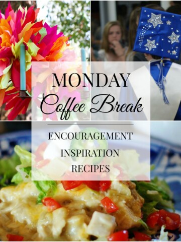 Monday Coffee Break Title Collage- Encouragement, Inspiration, Recipes