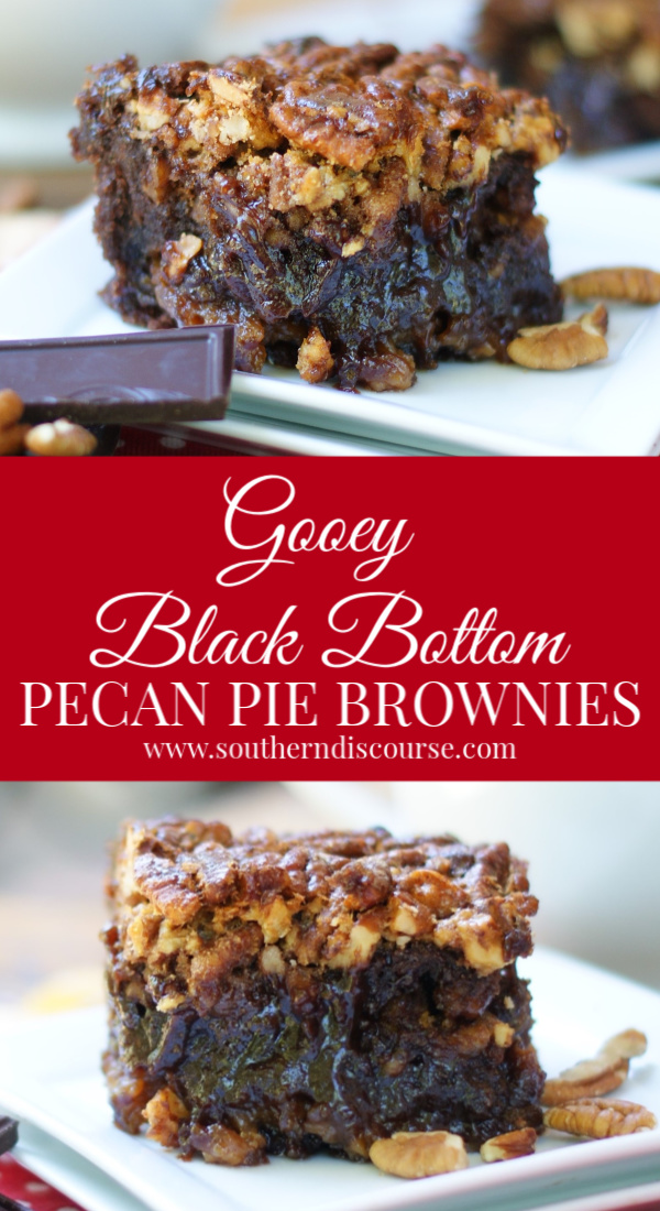 Dark, fudgey brownies and toasted pecan pie filling are the perfect combination in these Gooey Black Bottomed Pecan Pie Brownies. Wonderfully rich and decadent, you'll never spend your dessert calories on a plain ol' brownie ever again!#southerndiscourse #brownies #pecanpie #holiday #kentuckyderby #chocolate #fudge