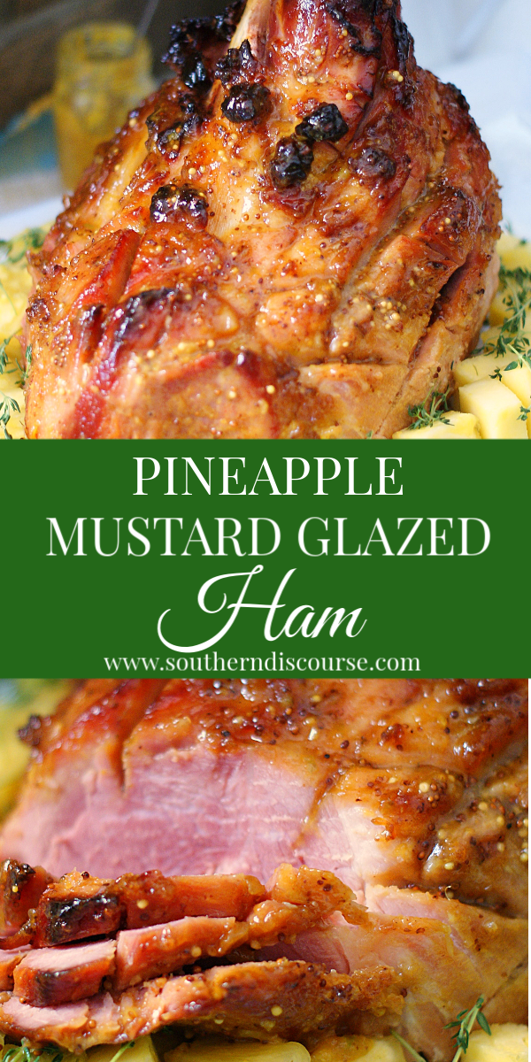 Easy glazed ham with brown sugar, pineapple and mustard.  A simple recipe to bake glazed ham right in your oven.  #Hamrecipe #pineappleham #mustardham #holidayham #easterham