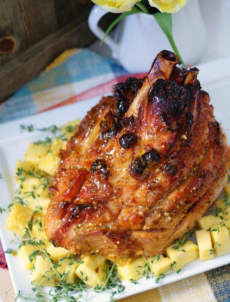 An overhead view of pineapple mustard glazed ham.