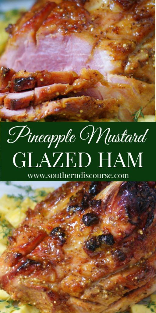 How to cook a ham doesn't have to be hard with this deliciously tender Pineapple Mustard Glazed Ham.  Perfect for Christmas, Easter, Thanksgiving, even picnics, this ham's glaze of brown sugar, pineapples, mustard and spices is brushed on, and then the ham is baked in oven!  #southerndiscourse #holiday #Easter #Christmas #pineapple #honey #brownsugar #mustard #bonein