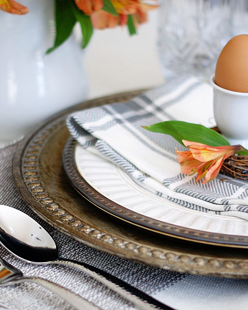 Side view of spring place setting with brown egg in egg cup and gray plaid napkin.