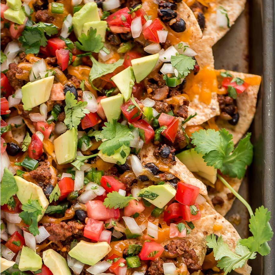 A pan of beef loaded nachos for cinco de mayo