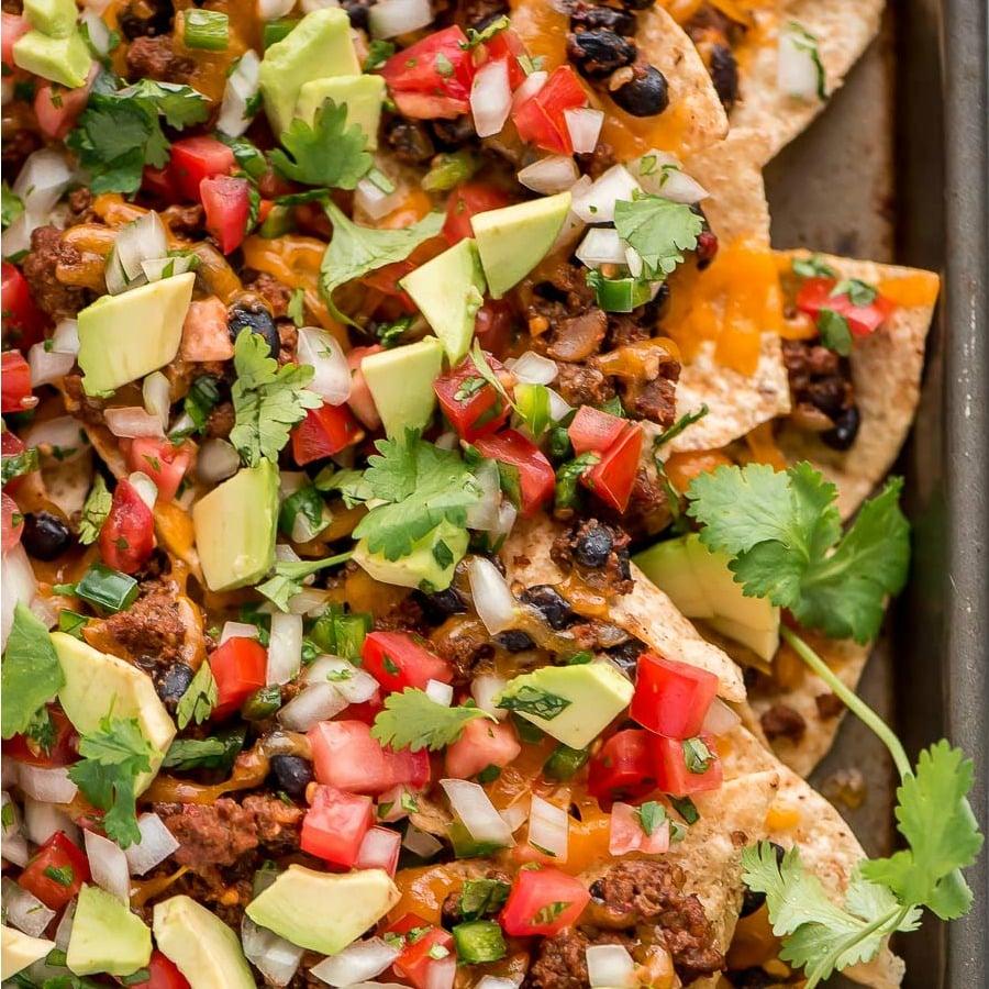 A pan of beef loaded nachos for cinco de mayo