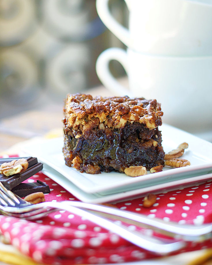 Gooey Black Bottom Pecan Pie Brownies