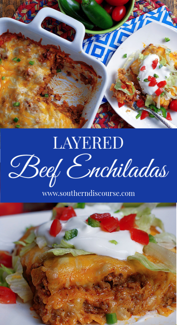 Layers of seasoned beef, enchilada sauce, corn tostadas and melted cheese make enchiladas easy by creating a layered TexMex casserole the whole family will love! #southerndiscourse #texmex #mexican #enchiladas #redsauce #beef