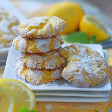 Lemon Cookie stack with a bite.