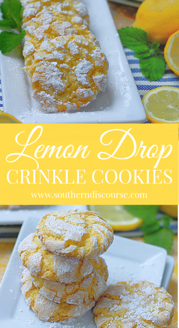 Lemon Drop Crinkle Cookies are so pretty and easy to make! Cake mix is used for this cookie dough, and the cookies are rolled in powdered sugar to create gorgeously light cookies that are sweet and lemony tart! #southerndiscourse #lemondrop #crinklecookies #lemon