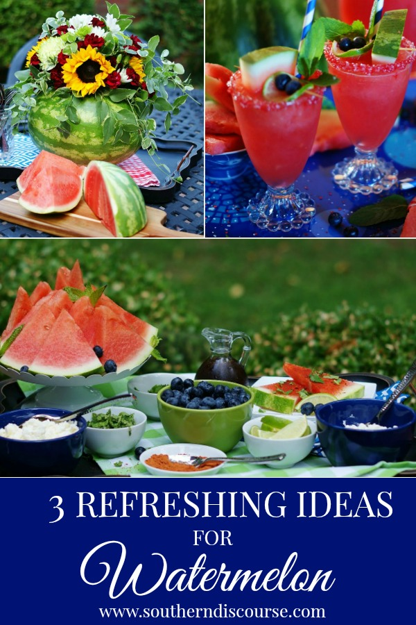 3 easy and refreshing ways to entertain with and enjoy watermelon this summer.  An easy centerpiece, a toppings bar and a summer frozen watermelon drink that everyone can enjoy are going to be game changers for your summer get-togethers!  #southerndiscourse #watermelon #easyentertaining  #summerpartyideas