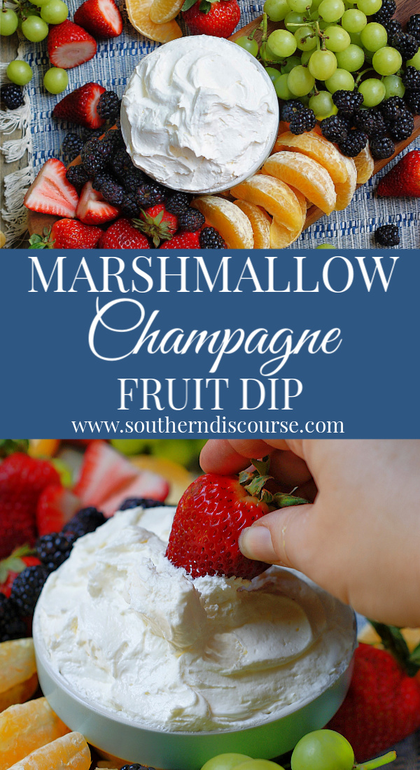 Marshmallow Fruit Dip is made with marshmallow creme, cream cheese, whipped topping and champagne extract for an extra bit of fabulous when you dip! #southerndiscourse #creamcheese #marshmallowfluff #coolwhip #easy