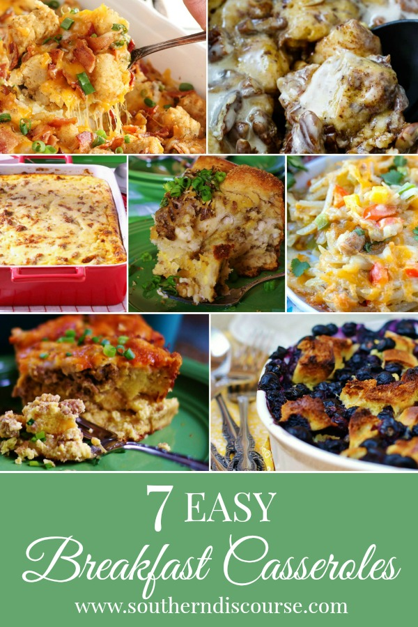 From savory to sweet, these casseroles offer short cuts, make ahead and even crock pot options. You're gonna love what you can do with breakfast!  #Southerndiscourse #breakfast #breakfastcasserole #crockpot #makeahead #overnight #brunch
