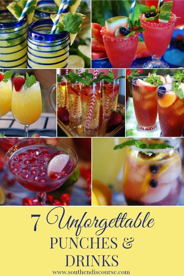 7 of the most memorable punch & drink recipes for your family get together and celebrations.  Also perfect for holidays or a special weekend treat. #southerndiscourse #showers #mothersday #holidays #punch #nonalcoholic