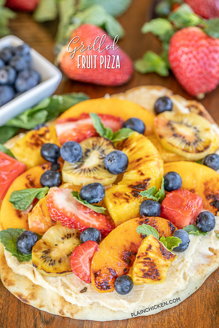 Grilled Fruit Pizza with peaches, strawberries, kiwi and blueberries.