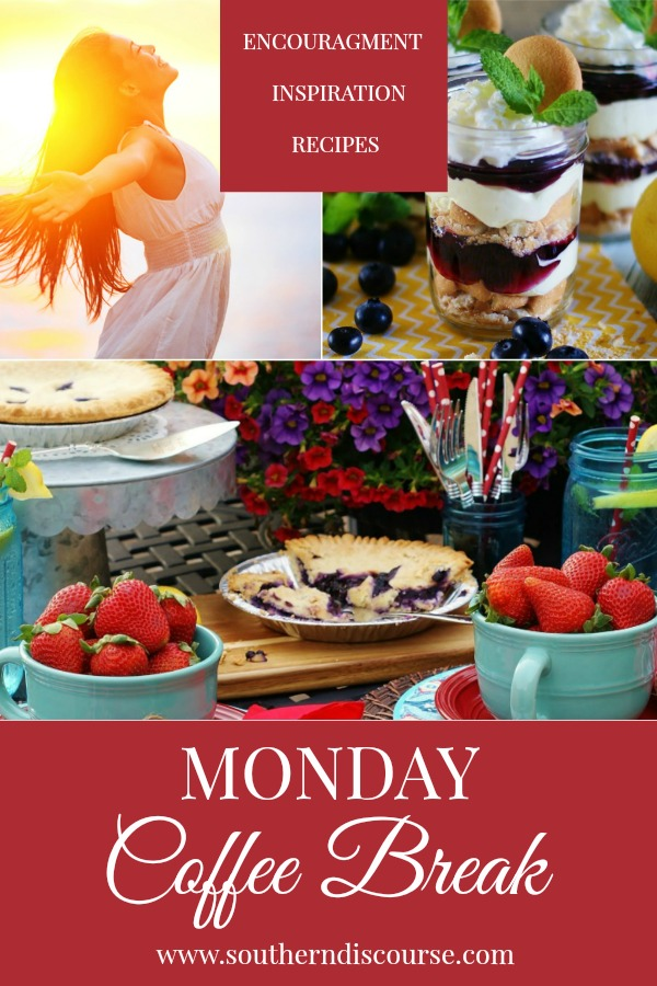 Monday Coffee Break is a weekly series full of Biblical encouragement, hospitality inspiration and delicious recipes.  This week features a Memorial Day picnic, how to overcome spiritual dry seasons and a recipe for blueberry lemon lush.  Let's finish this week Proverbs 31 strong!
