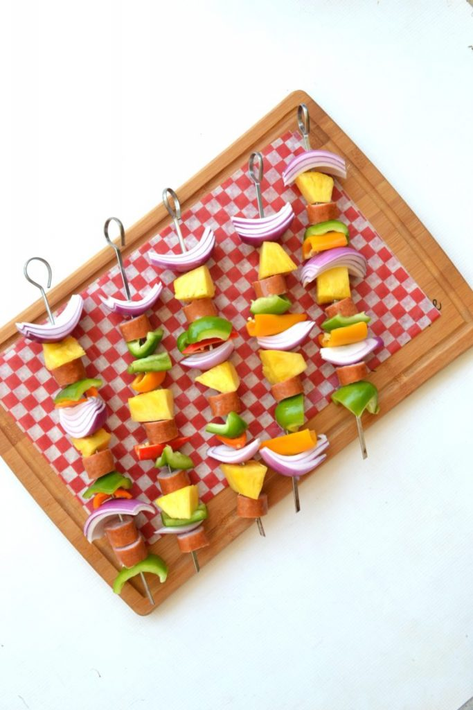 5 vegetable and bratwurst kabobs for grilling