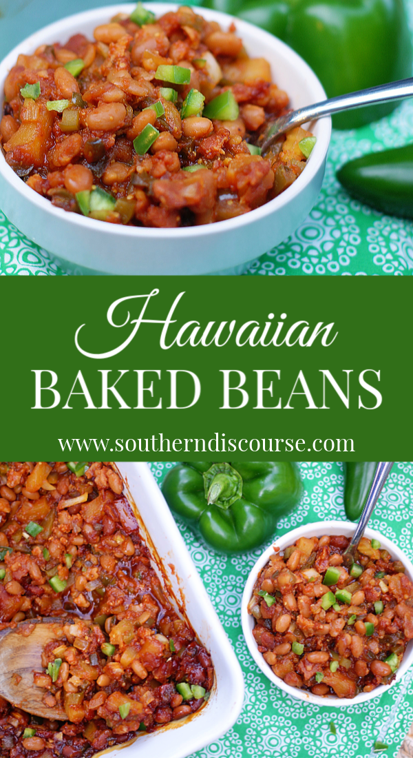 A little sweet, a little spicy this homemade baked beans recipe is loaded with pineapple, green peppers, bacon and sweet onion in a sauce a brown sugar and molasses sauce. This side dish is perfect for all of your cookouts and potlucks! #southerndiscourse #hawaiian #pineapple #bakedbeans #southern #BBQ