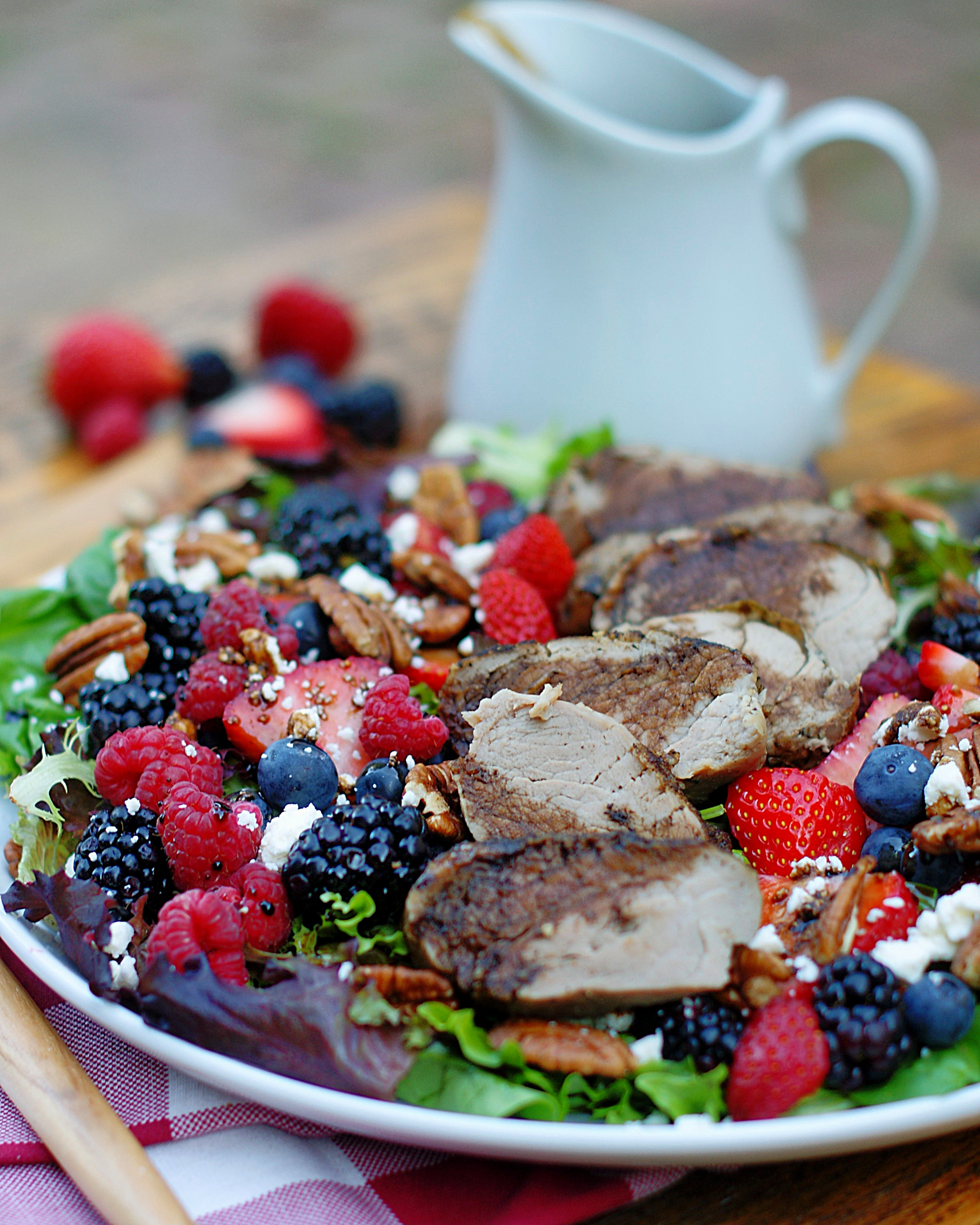 Berry Salad with cherry balsamic dressing.