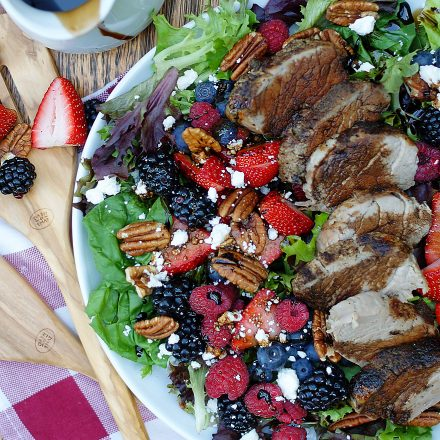 Summer berry salad with balsamic dressing and pork tenderloin.
