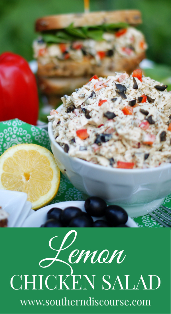 Not your average chicken salad recipe, this savory hearty recipe is made with bright lemon chicken, red bell pepper, chopped black olives, and celery seed.  An easy meal.  Perfect for a sandwich!  #southerndiscourse #easyrecipe #homemade #lemonchicken #chickensalad