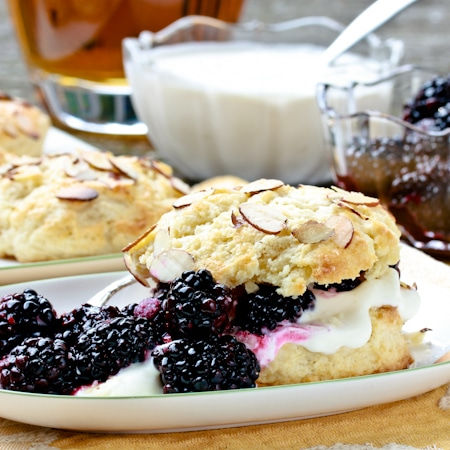 Perfect short cakes topped with a blackberry bourbon sauce and whiskey cream.