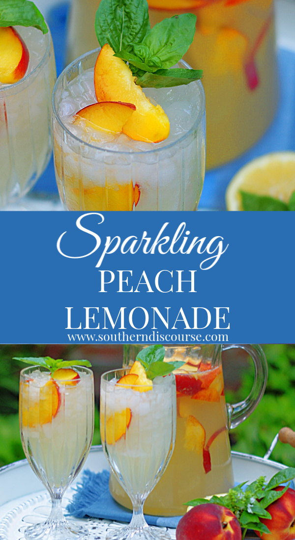 No cooking, no pureeing! Just simple, easy and fresh! This Sparkling Peach Lemonade recipes uses just macerated peaches, white cranberry peach juice and fresh lemon juice with just a hint of sparkle. #southerndiscourse #summerdrinks #lemon #peach #Southern #southernsummer
