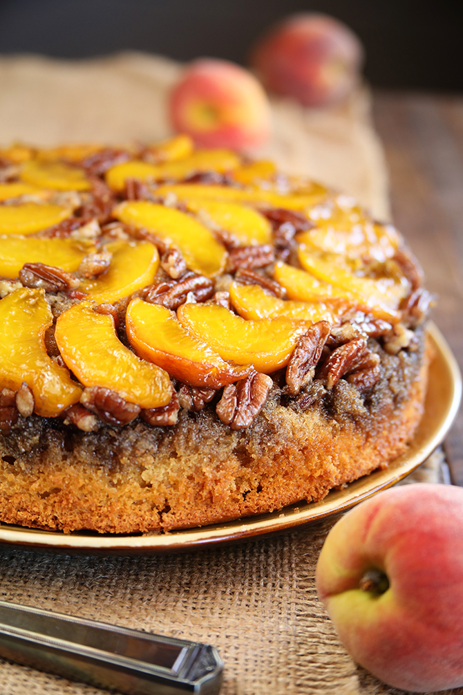 Peach Upside Down Cake with pecans.