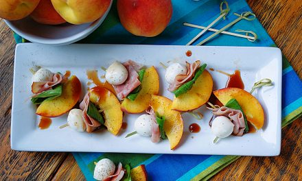 Peach Skewers with Ham & Mozarella