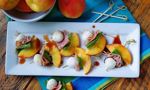 Peach Skewers with Ham & Mozarella