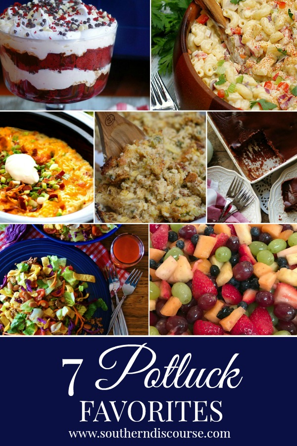 Delicious side dishes and desserts that are easy to make and feed a crowd.  Perfect for big gatherings and potlucks! #southerndicourse #potluck #casseroles #cookout