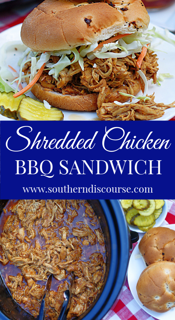 This easy crock pot bbq shredded chicken recipe with a homemade brown sugar BBQ sauce made rich with molasses and strong coffee will have you eating the best tender, melt in your mouth shredded BBQ Chicken Sandwiches all the time! Instructions for making this comfort food in the oven too. #southerndiscourse #BBQ #barbecue #pulledchicken #simple