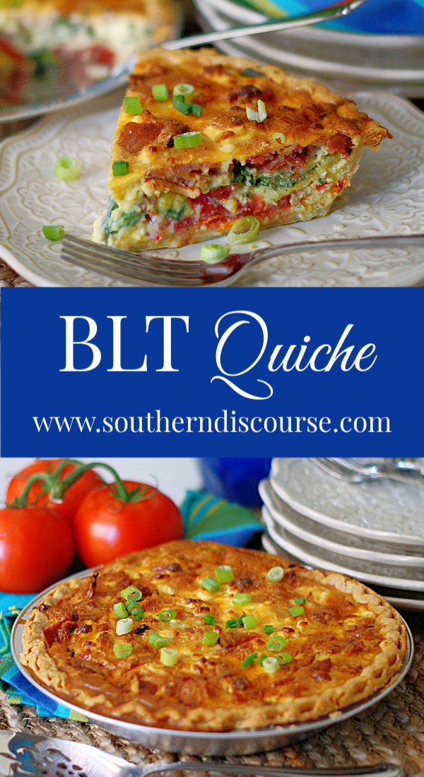 This easy breakfast quiche is also great for brunch and dinner! Loaded with bacon, tomatoes, spinach, green onions, feta and cheddar cheese, it's one delicious BLT! #southerndiscourse #easymeals #quiche #bacon #blt
