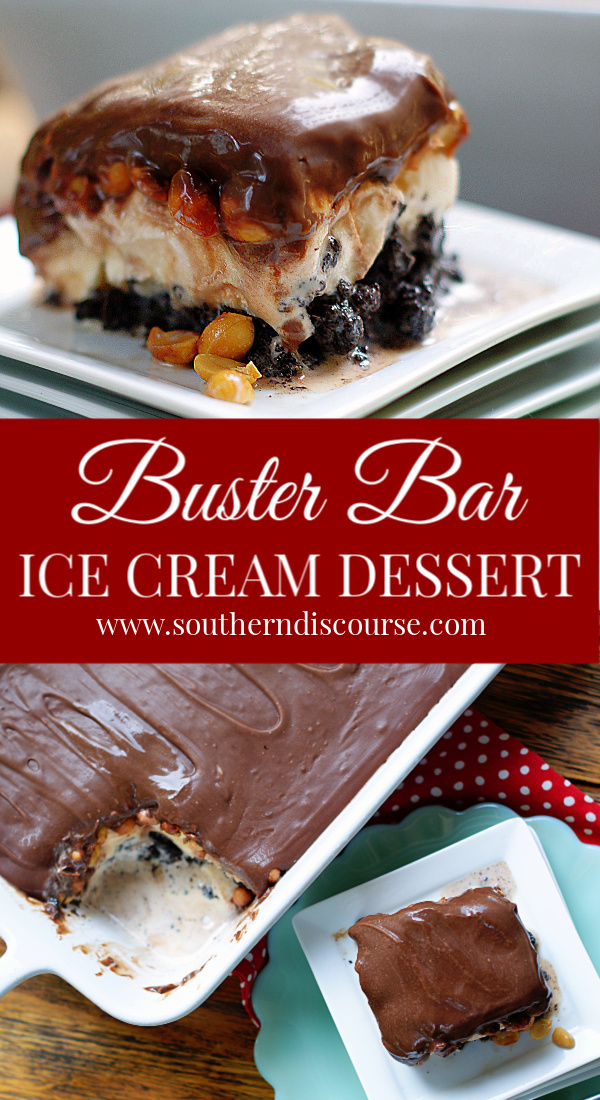 Loaded with Oreos, salted peanuts, vanilla ice cream and topped with the best fudgey topping you've ever tasted, this homemade, family-sized take on Dairy Queen's Buster Bar will have your guests begging for more!  #southerndiscourse #icecream #chocolatechips #potlucks #cookout