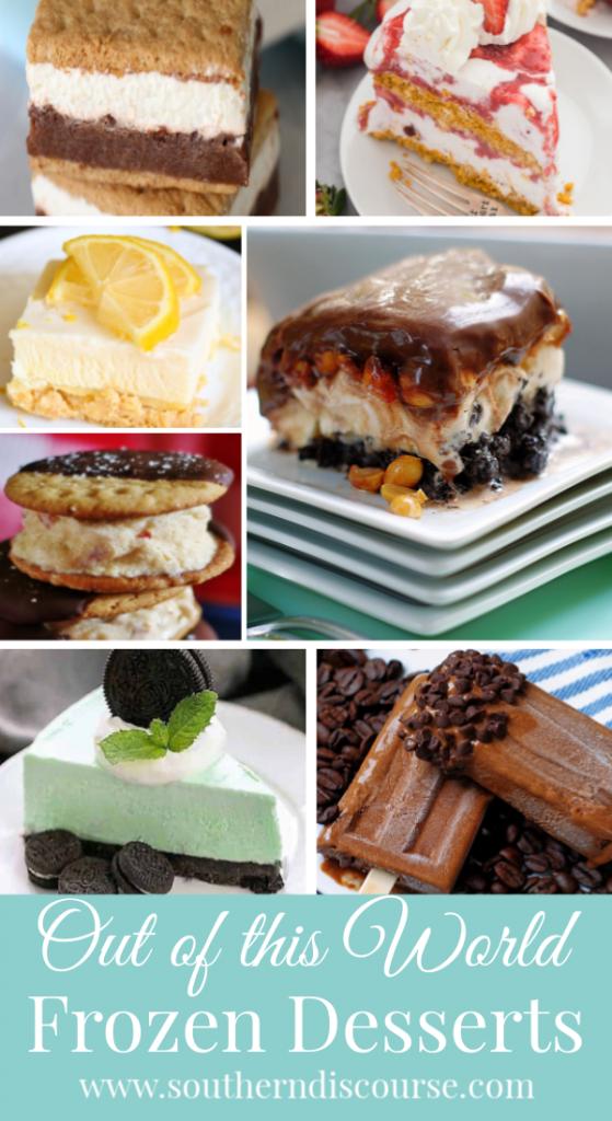7 OUT OF THIS WORLD Frozen Desserts that will surprise and delight your family on these hot summer days. You'll find everything from frozen s'mores bars to popsicles, ice cream sandwiches, cakes, pies, even frozen fluff! The dog days of summer never tasted so good! #southerndiscourse #summer #frozendesserts #desserts #icecream #popsicles #icecreamcake #icecreampie #icecreamsandwiches