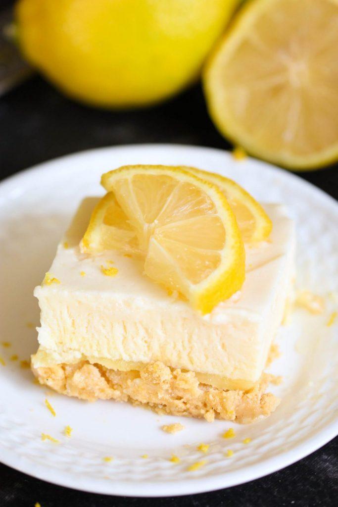 A square of frozen lemon dessert