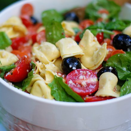A close up of a bowl of tortellini pasta salad.
