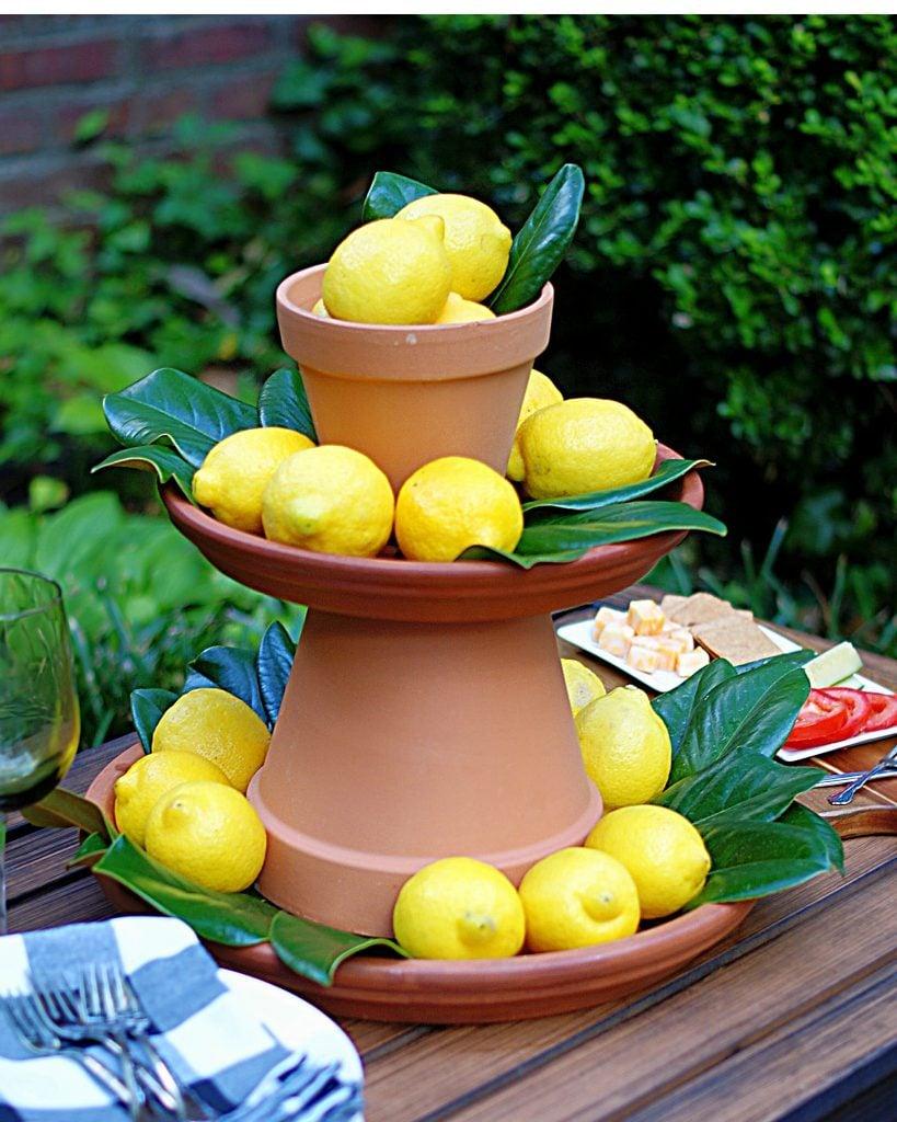 Lemons and clay pot centerpiece