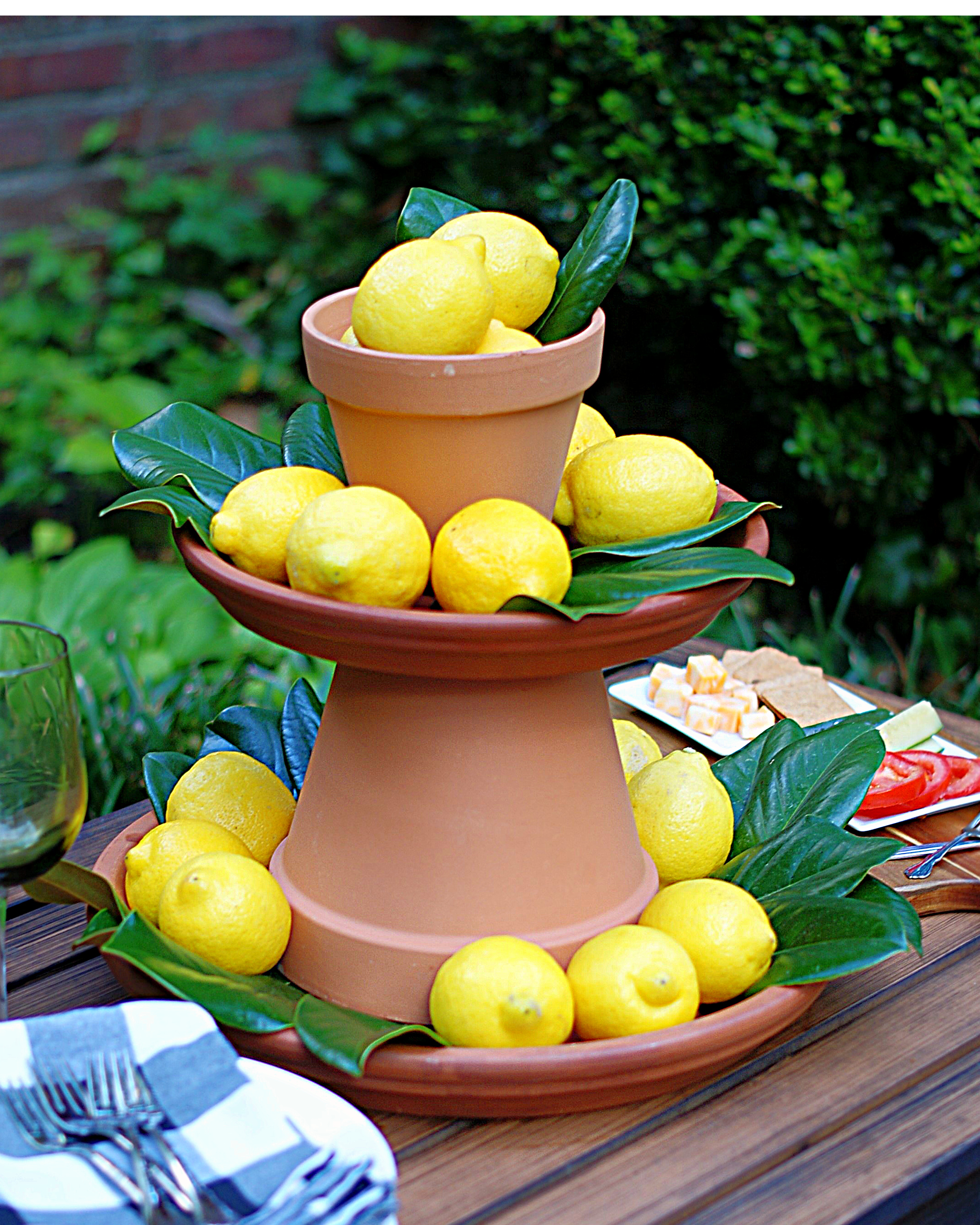 2 tiered lemon centerpiece with terra cotta pots