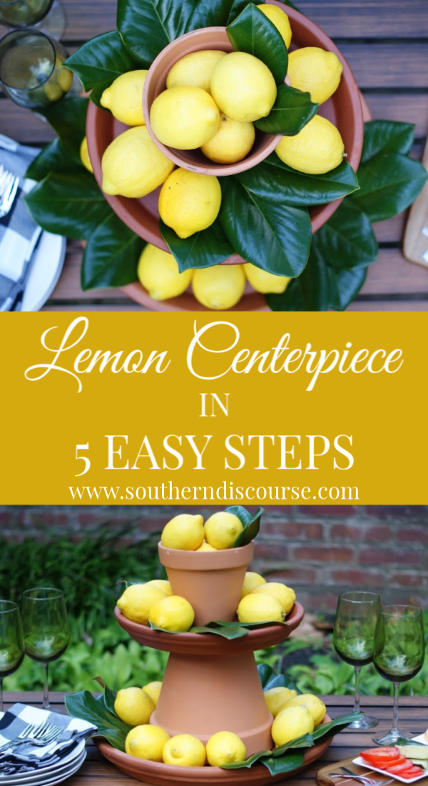 How to create a beautiful, rustic, Italian lemon centerpiece in just 5 simple steps!  #summerparties #farmhouse #leaves #showers #rehearsaldinners #backyardparties #weddings #southerndiscourse