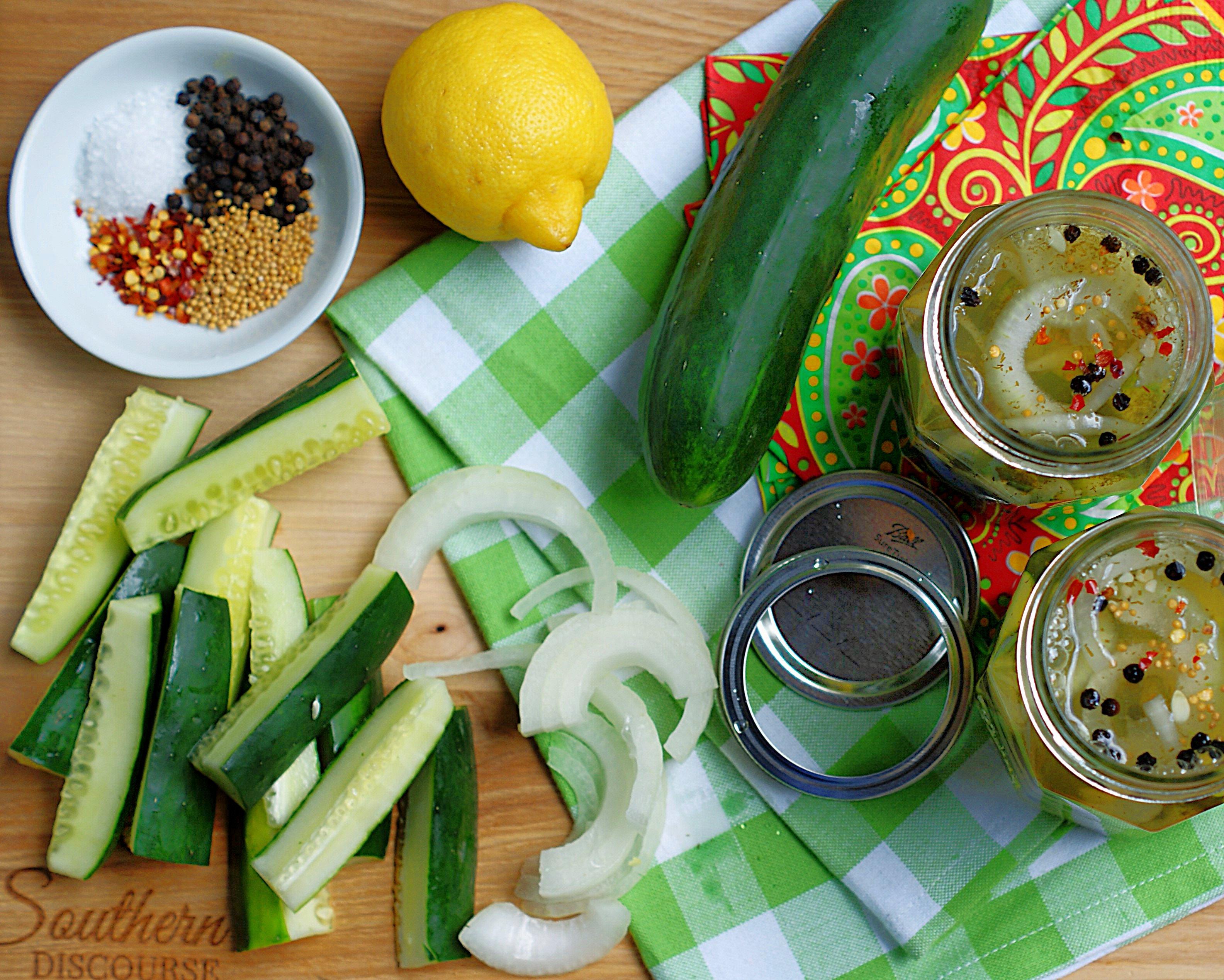Prepping for lemonade pickles.
