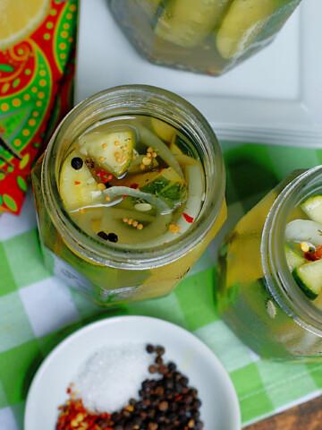 An aerial view of lemonade refrigerator pickles