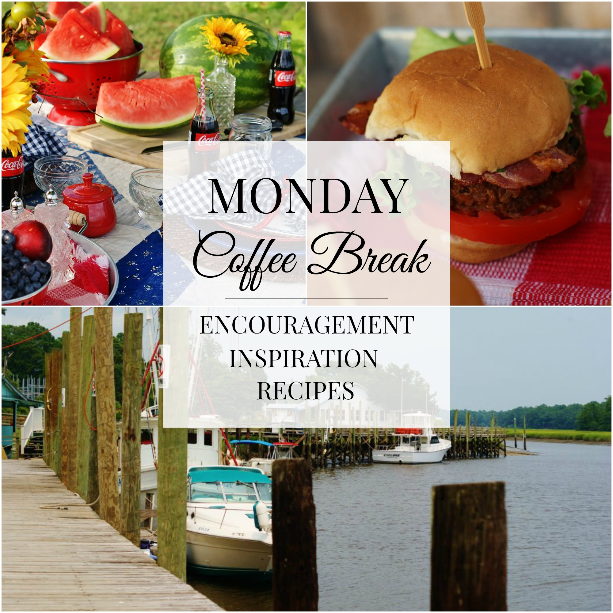 The title collage of crab cakes, July 4th picnic and Calabash, North Carolina for Monday Coffee Break #42.