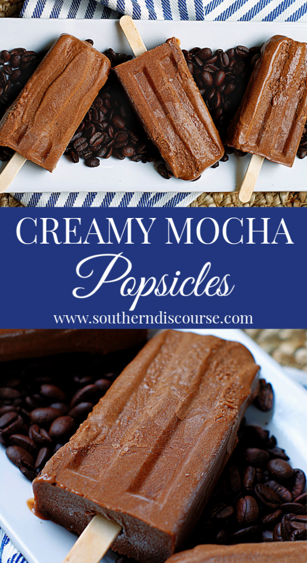 The richness of the chocolate, the boldness of the coffee and the icy smoothness of the cream, there's not a more refreshing coffee break treat for summer.  #southerndiscourse #coffee #mocha #fudgesicle #popsicle #summer #chocolate