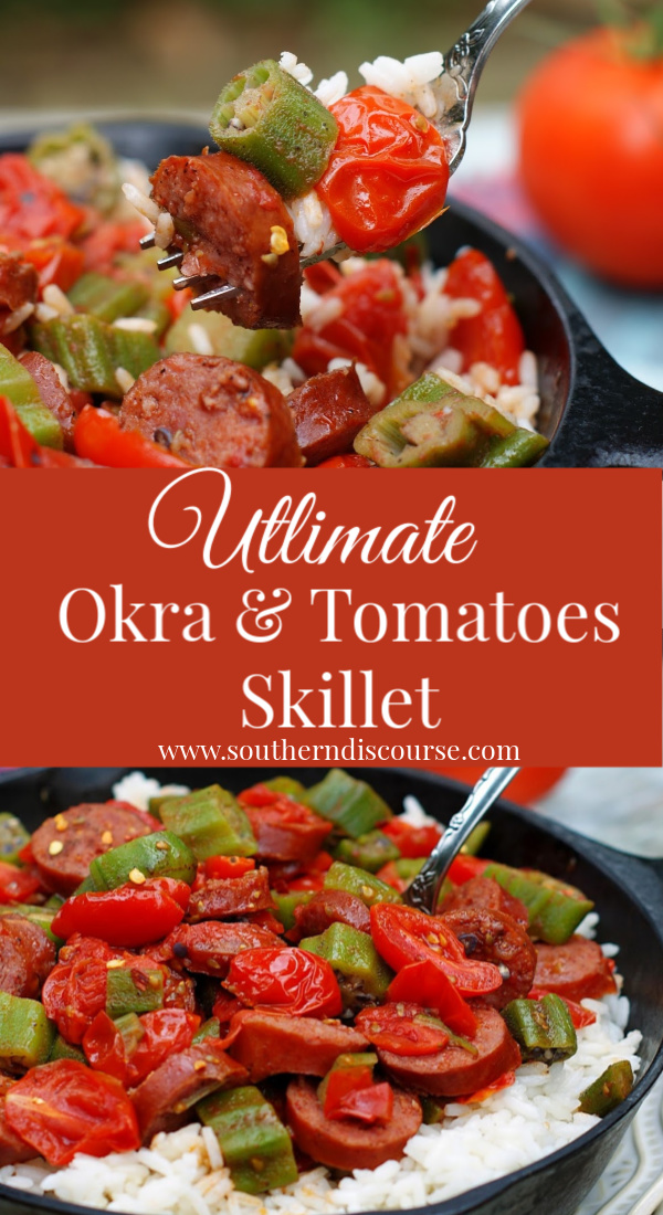 Summer okra, fresh diced tomatoes sauteed with smoked sausage and served over rice for a deliciously quick and easy seasonal meal full of rich, savory flavor! #southerndiscourse #okra #tomatoes #southernsummer #easymeals #Stewedtomatoesandokra