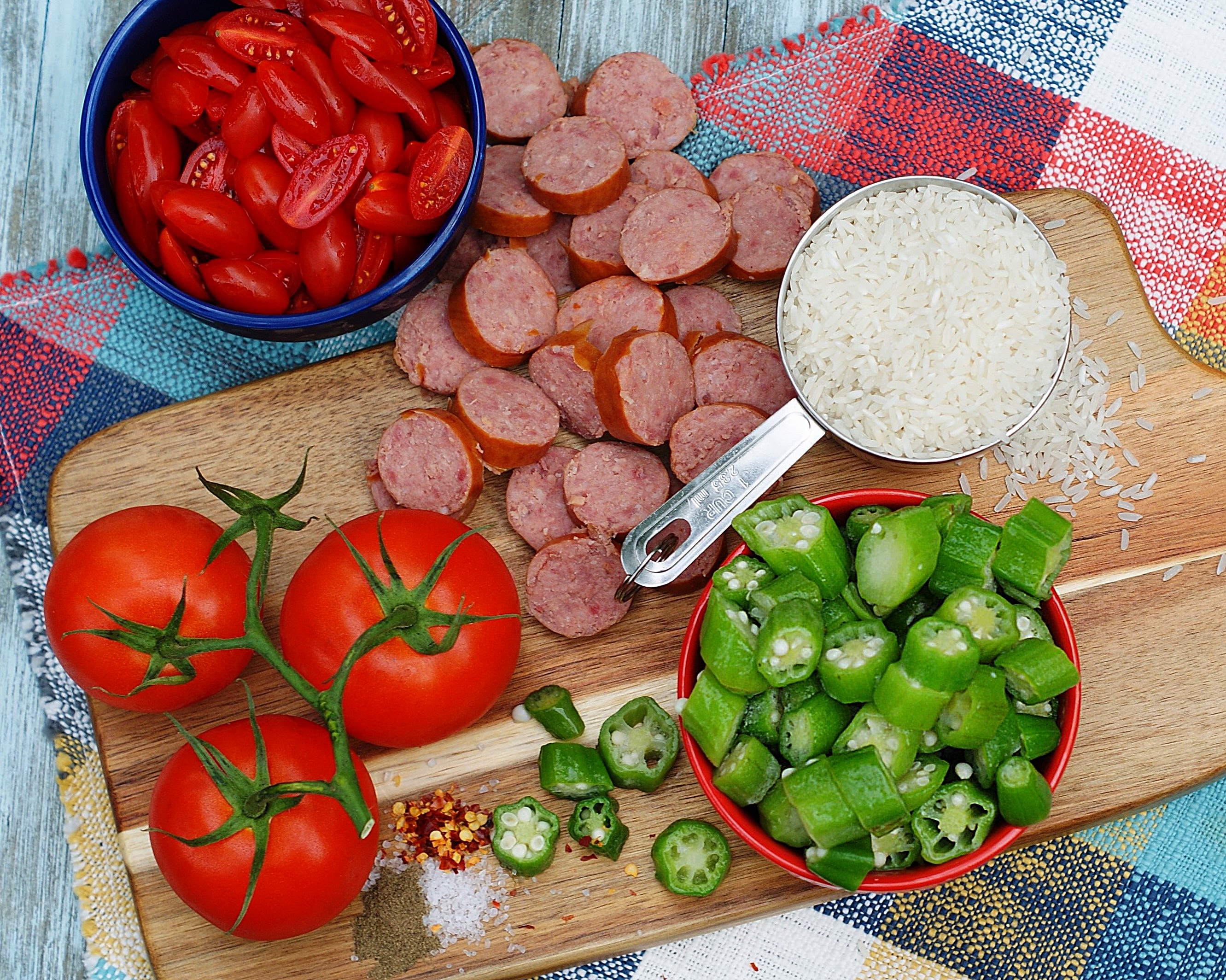 Ingredients for okra & tomatoes with smoked sausage skillet.