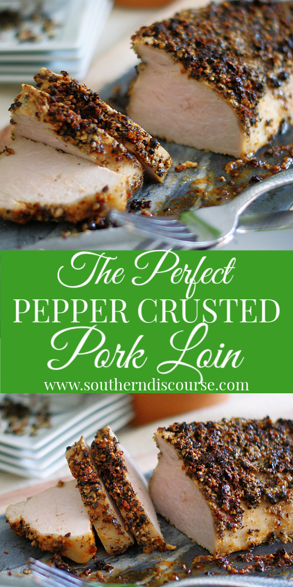This easy to follow pepper crusted pork tenderloin recipe uses a wonderfully aromatic cracked peppercorn rub and dijon mustard to create a delightful main dish that is perfect for family meals or holiday dinners. First, seared in a cast iron skillet then baked in an oven, this pepper crusted pork loin is tender and juicy! #southerndiscourse #tenderloin #peppercorn #rub #pork
