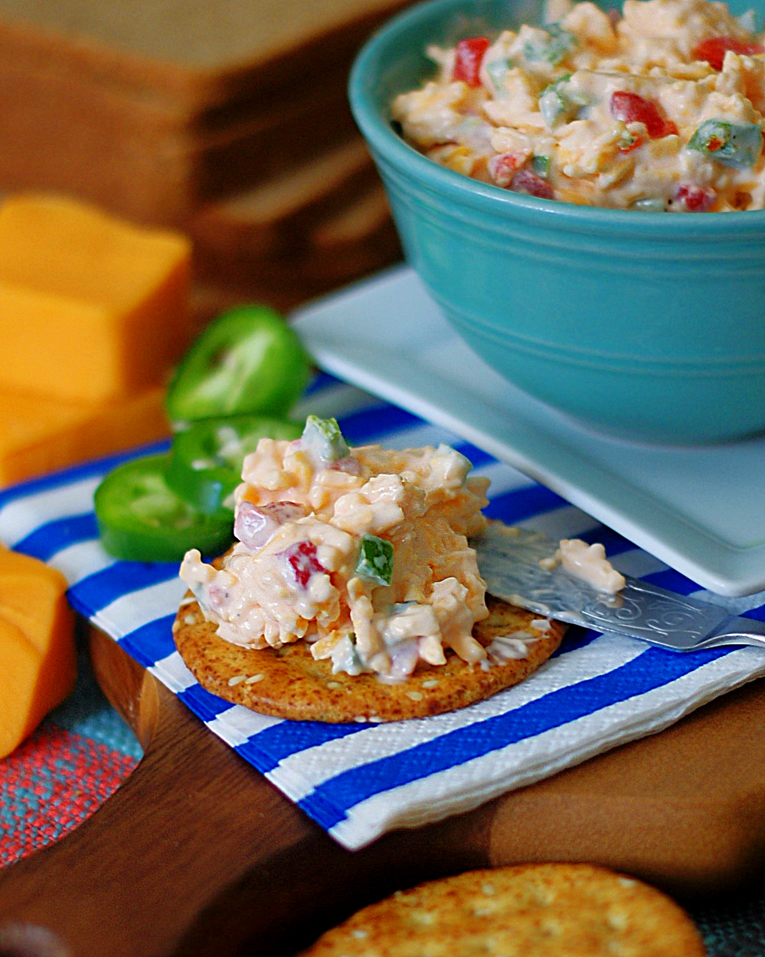 Jalapeno Pimento Cheese served on a cracker.